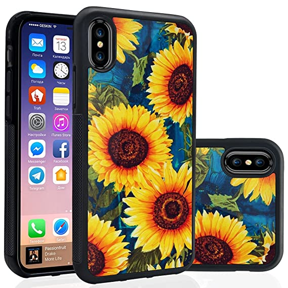 newest collection 60aef ceaa4 Ademen iPhone X 5.8 inch Case, Sunflower Design Hard PC Soft Silicone  Protective Durable Shockproof Case For iPhone X / iPhone 10