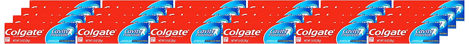 Colgate Cavity Protection Travel Toothpaste with Fluoride, TSA Approved Size - 1 ounce (24 Pack): Beauty