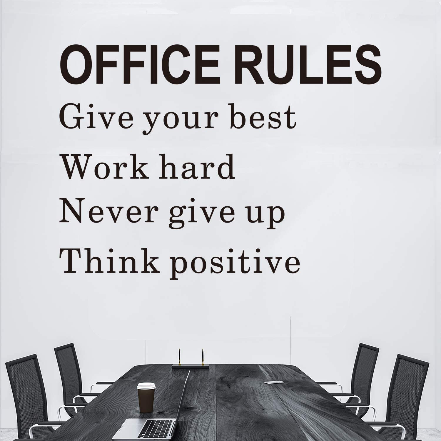 VODOE Inspirational Wall Decals, Office Wall Decals, Motivational Quote Workplace School Home Art Decor Vinyl Wall Stickers Office Rules Give Your Best Work Hard Never Give Up Think Positive 22