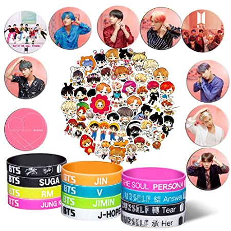 Y Fresh Bts Gifts Set For Army   12 Bts Silicone Wrisbands Bracelets/10 Bts Button Pins/ 63 Bts Laptop Stickers by Y Fresh