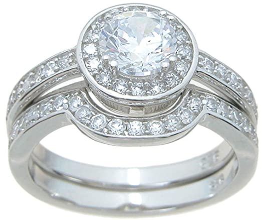 halo setting sterling silver wedding ring set size 7 - Halo Wedding Ring Set