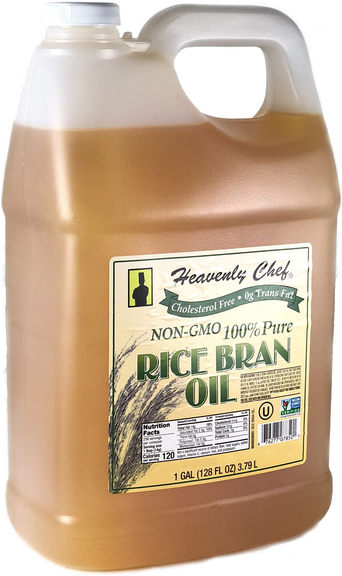 RICE BRAN OIL | 1 Gallon (128 Ounces) | Kosher | All- Natural, Made from 100% Non-GMO Rice | Rich in Vit E and Gamma Oryzanol | Unfiltered, No Trans Fat and Heart Healthy | by Heavenly Chef by Heavenly Chef