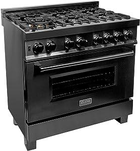 "ZLINE 36"" Black Stainless 4.6 cu.ft. 6 Gas Burner/Electric Oven Range (RAB-36)"