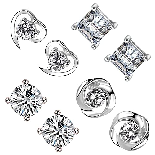 1a6b0a67e Image Unavailable. Image not available for. Color: Fashion Sterling Silver  Cubic Zirconia Stud Earrings Set,Princess Cut ...