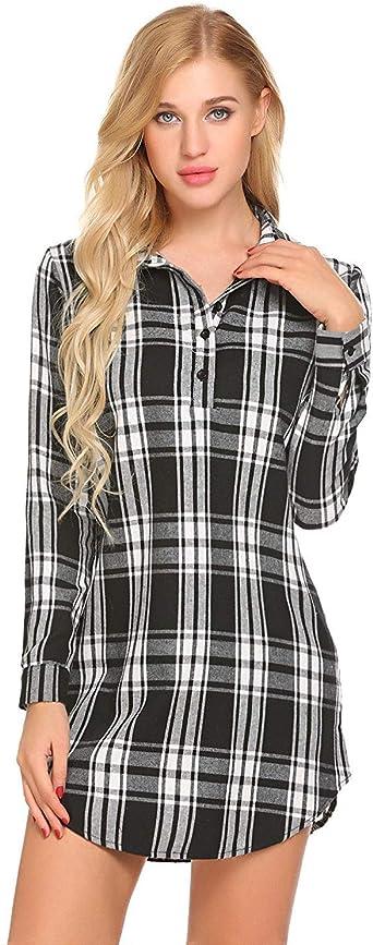 Camisón De Mujer Camisa A Cuadros Esencial Corta Vestidos De Noche De Manga Larga Camisa Extragrande con Botón En La Parte Delantera Camisa Elegante Vestido Rojo Y Negro: Amazon.es: Ropa y accesorios