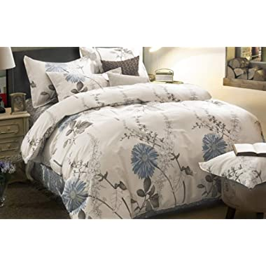 Wake In Cloud - Floral Duvet Cover Set, 100% Cotton Bedding, Botanical Flowers Pattern Printed, with Zipper Closure (3pcs, King Size)