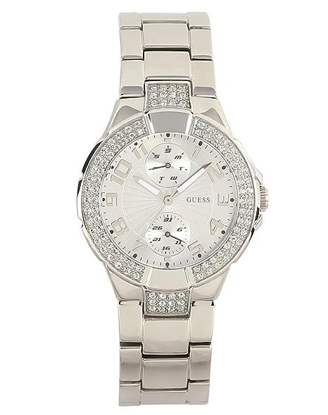 Acero Analógico Guess Mujer Con InoxidableColor Reloj W12638l1 De Para Plateado Correa Cuarzo byYf6gvI7