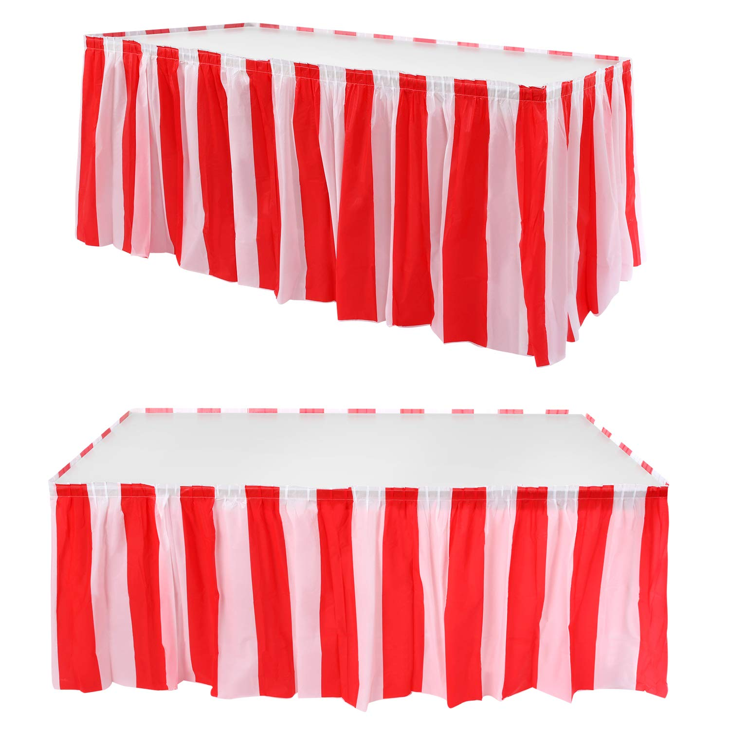 2 Pieces Red White Striped Table Skirt Circus Theme Table Skirt for Carnival Home Decoration Party Supplies