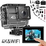 Bfull Action Cam 4K Touchscreen Ultra Full HD Unterwasserkamera 20MP WiFi Action Kamera Wasserdicht Sport Helmkamera 170° Weitwinkel mit 2 Akku und kostenloses Zubehör Kits