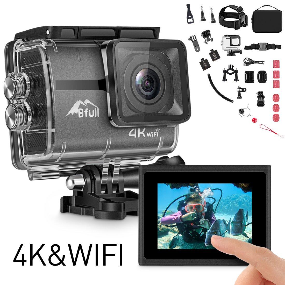 BFULL Action Cam 4K Ultra Full HD Unterwasserkamera 20MP Wifi Action Kamera Wasserdicht Sport Helmkamera 170° Weitwinkel mit 2 Akku und kostenloses Zubehör Kits GRP018