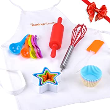 Deluxe 20 Piece Kids Cooking And Baking Set With Real Kitchen Utensils To  Teach Children To