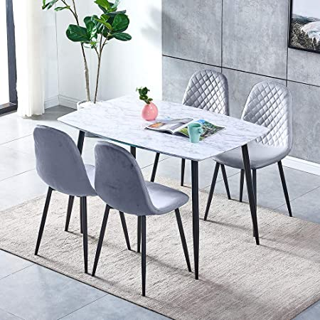 Marble Look Dining Room Set 5 Piece Table And Chair Set White Wood Dinner Table With