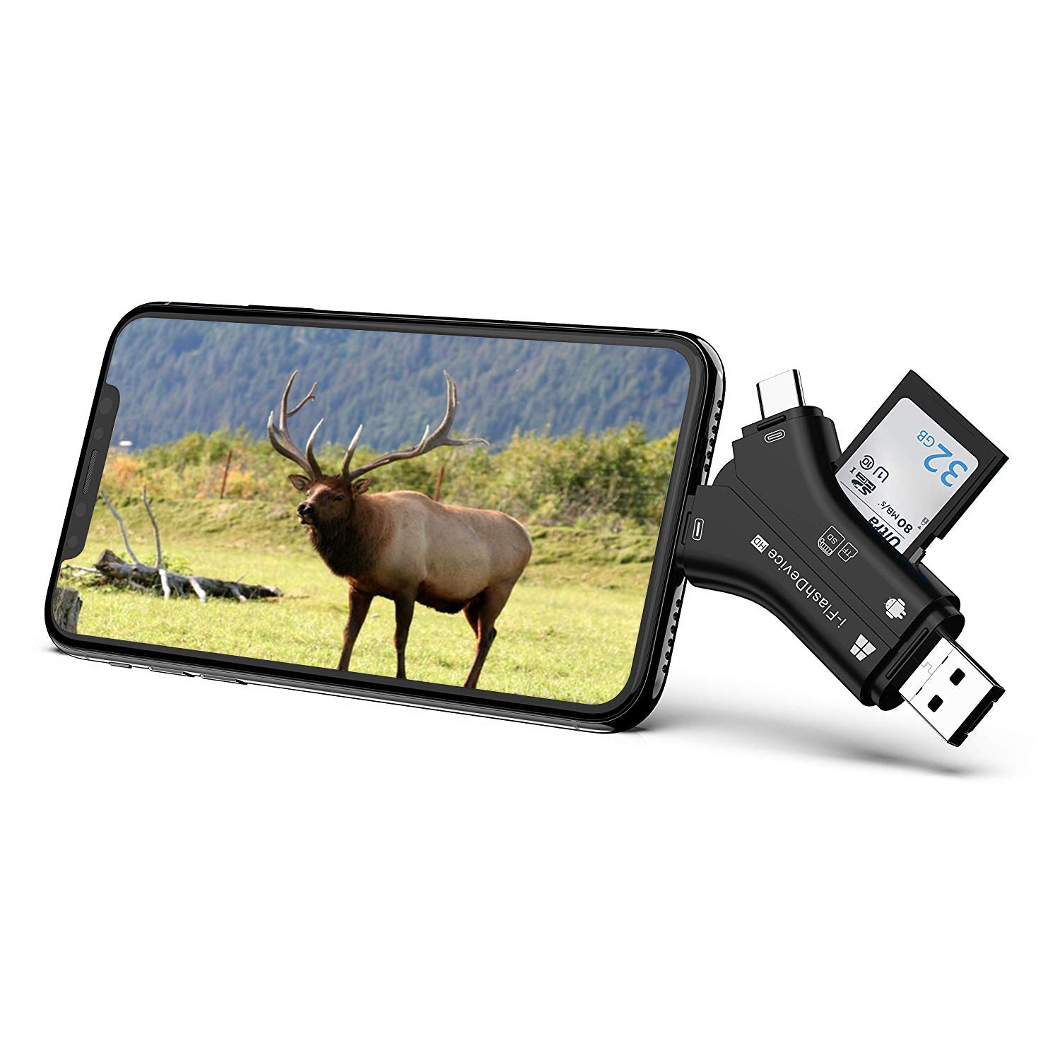 Game & Trail Camera Viewer SD & Micro SD Memory Card Reader for iPhone iPad Mac Laptop and Android Smartphone View Photos and Videos from Wildlife & Deer Hunting Cameras, Action Cameras or IP Cameras