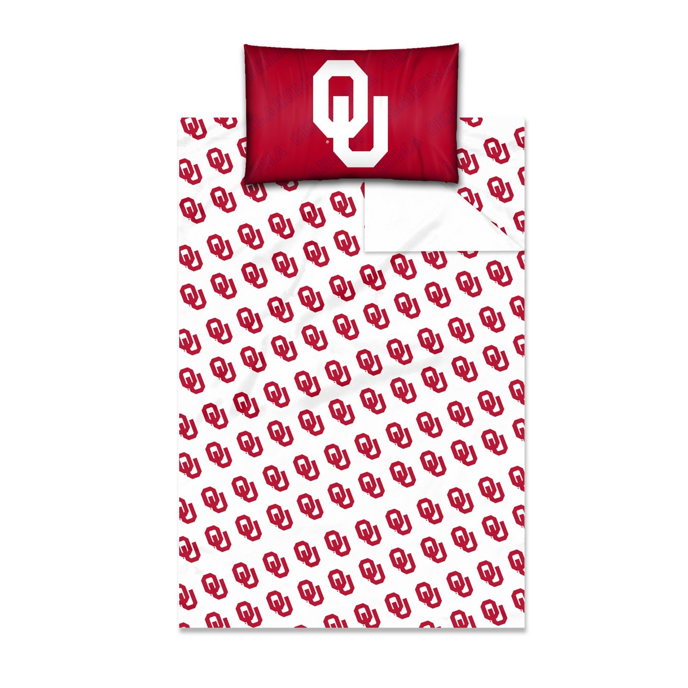 Oklahoma OFFICIAL Collegiate, Bedding Twin Sheet Set (1 Flat 66 x 96, 1 Fitted 39 x 75 + 12 pocket, and 1 Pillowcase 20 x 30)