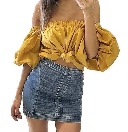 Legendaryman Verano Mujer Blusa Moda Colores Lisos Remata Camisa T-Shirt tee Sexy Cuello Barco Manga de la Linterna Tops Camisetas: Amazon.es: Ropa y ...