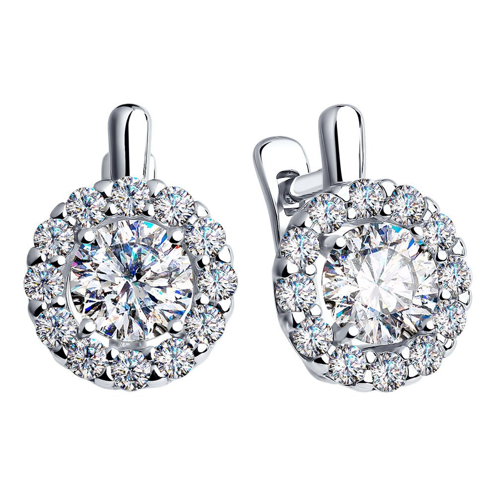 Sterling Silver Halo Earrings for Women Rhodium Plated w/Cubic Zirconia Swarovski Crystals 18 cttw