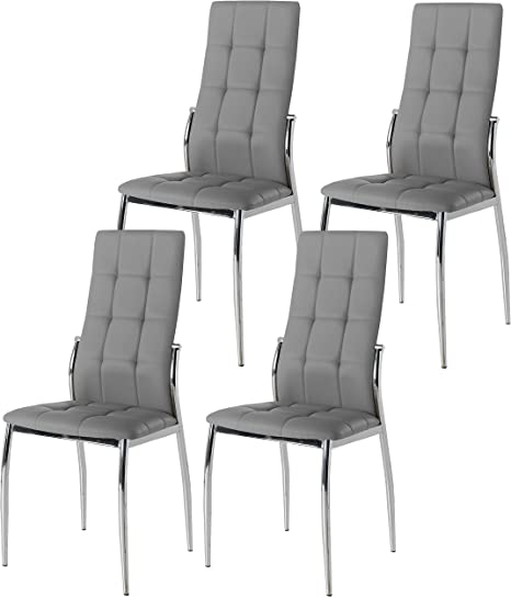 Miroytengo Pack 4 sillas Comedor Laci Color Gris Polipiel Salon ...