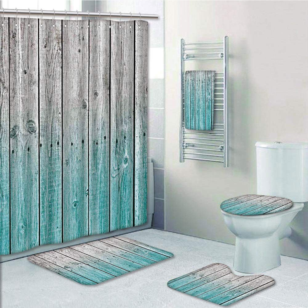 Bathroom 5 Piece Set shower curtain 3d print Customized,Rustic,Wood Panels Background with Digital Tones Effect Country House Art Image,Light Blue and Grey,Bath Mat,Bathroom Carpet Rug,Non-Slip,Bath T