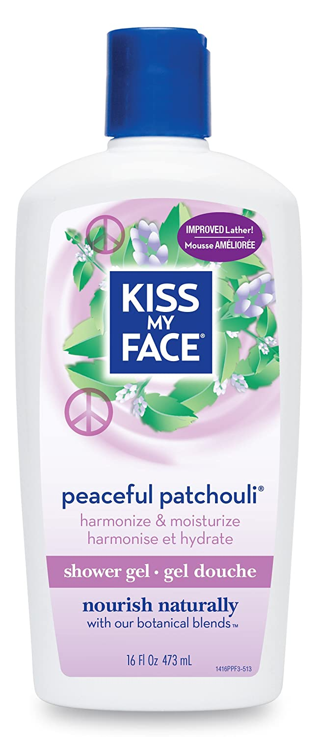 Kiss My Face Peaceful Patchouli Moisturizing Shower Gel, Bath and Body Wash, 16 oz (Pack of 3)