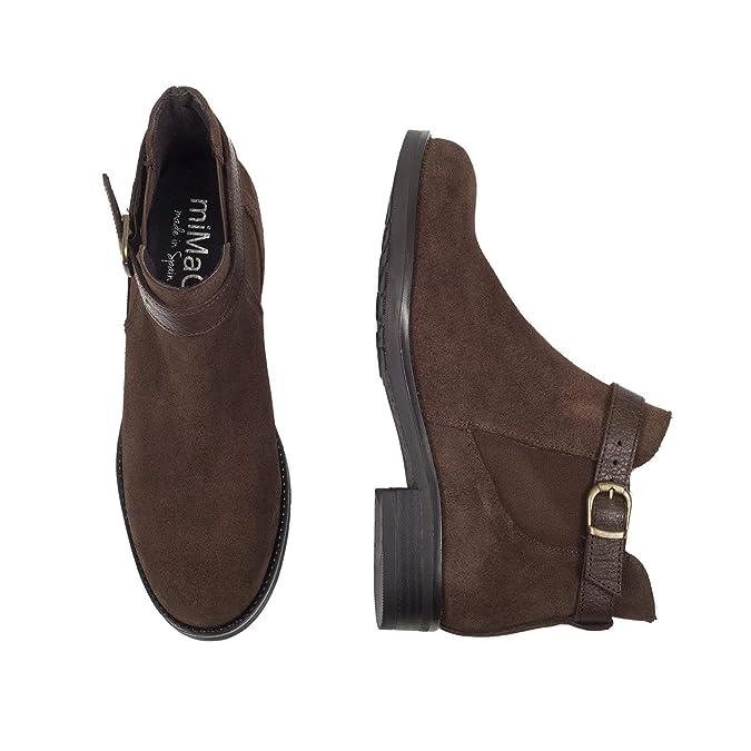 Moteros - Botines Tipo Chelsea con Adorno de Hebilla CAFÉ: Amazon.es: Zapatos y complementos