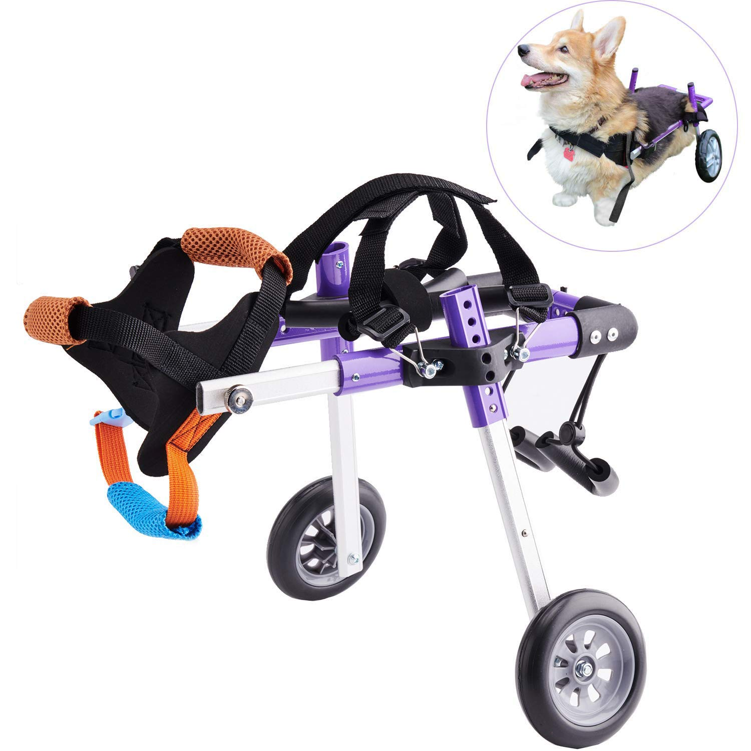 Apstour Dog Wheelchair Pet Hip Joint Care Wheelchair 10inch Wheel 2 Wheels Cart for Hind Legs Rehabilitation,Pet Wheelchair, Hind Legs Rehabilitation,Dog Cart (XS) by Apstour
