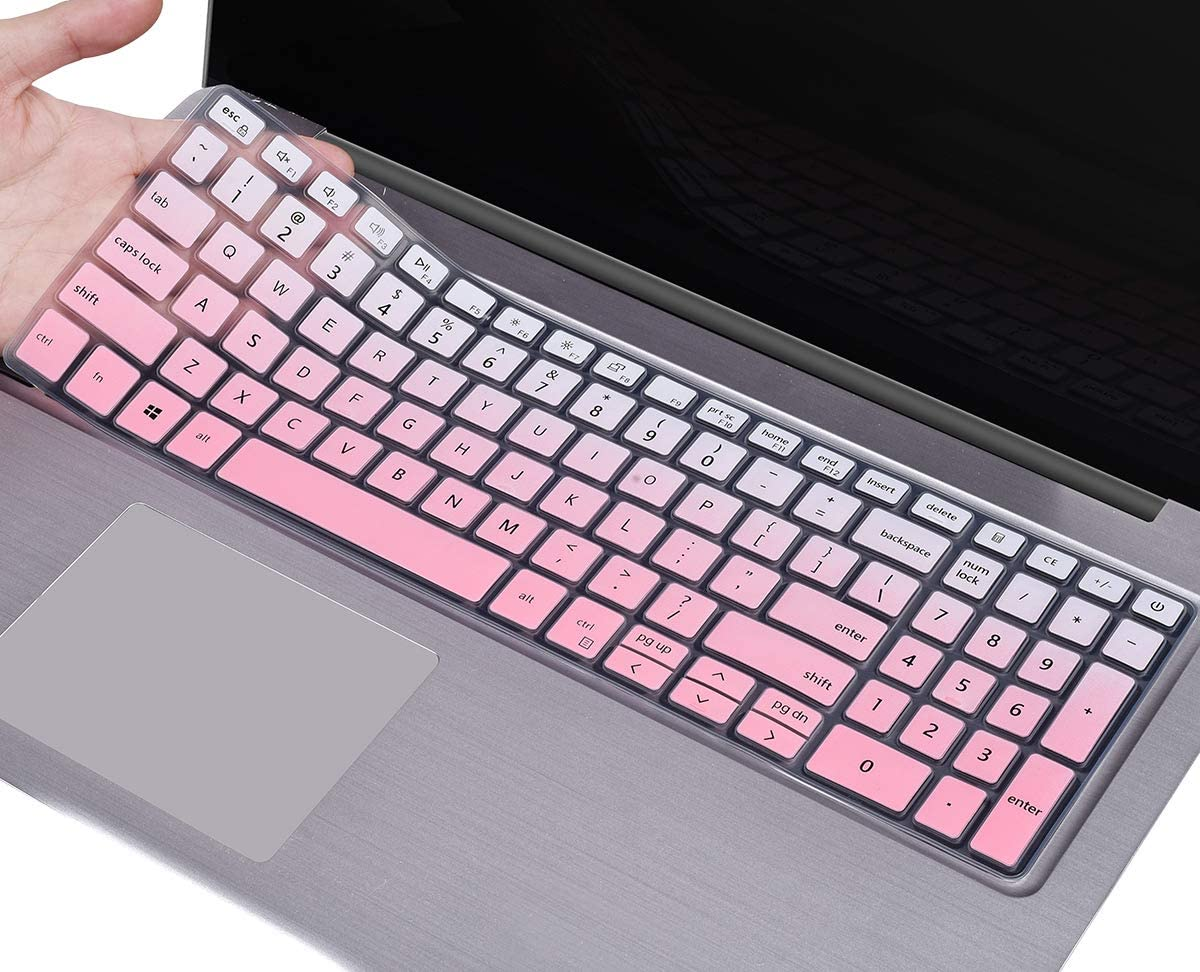 Keyboard Cover for 2020 2019 Dell Inspiron 15 5593 5584 5598 5508 5501 / Dell Inspiron 15 7000 7590 7591 7501 17.3 /Dell Vostro 15 7590 Laptop, Dell Inspiron 5593 Keybard Skin, Ombre Pink