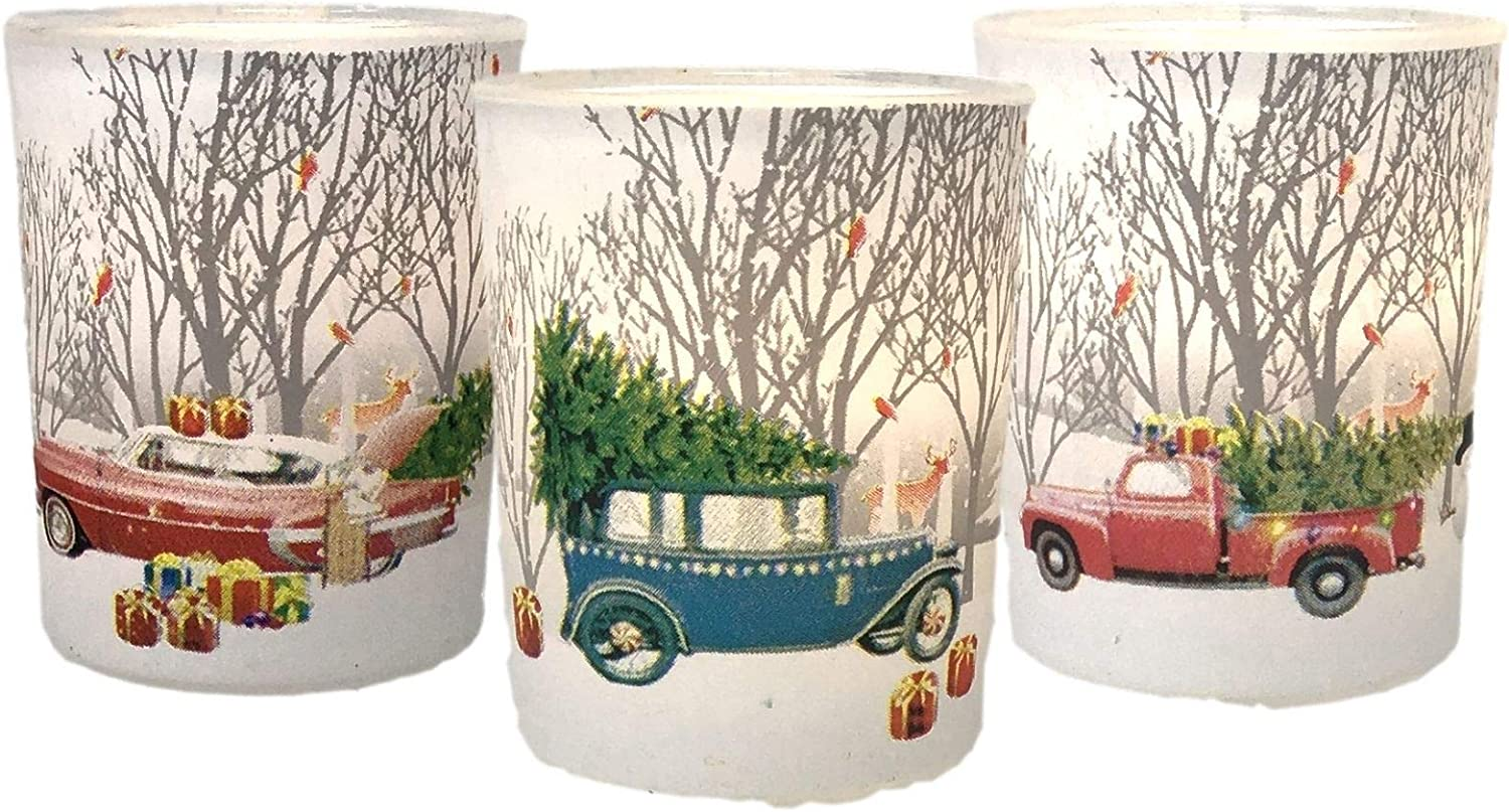 Red Pick-Up Truck Candle Holder - Set of 3 Vintage Red Truck and Christmas Tree Décor Candles Frosted Glass Votive Tealight Holders - Winter Scene Votives with Antique Vehicles - 2.75 Inches Tall