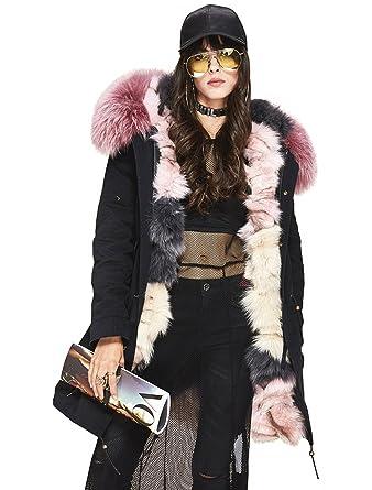 Melody Women's Luxurious Real Fox Fur Liner Parka Raccoon Fur ...
