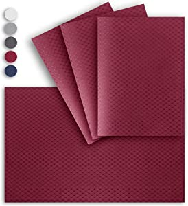 VCVCOO Oil Proof Fabric Placemat for Dinner Parties, Outdoor Indoor Use Waffle Table Mats Heat Resistant 13 by 19 inches, Red Wine, Set of 4 pcs