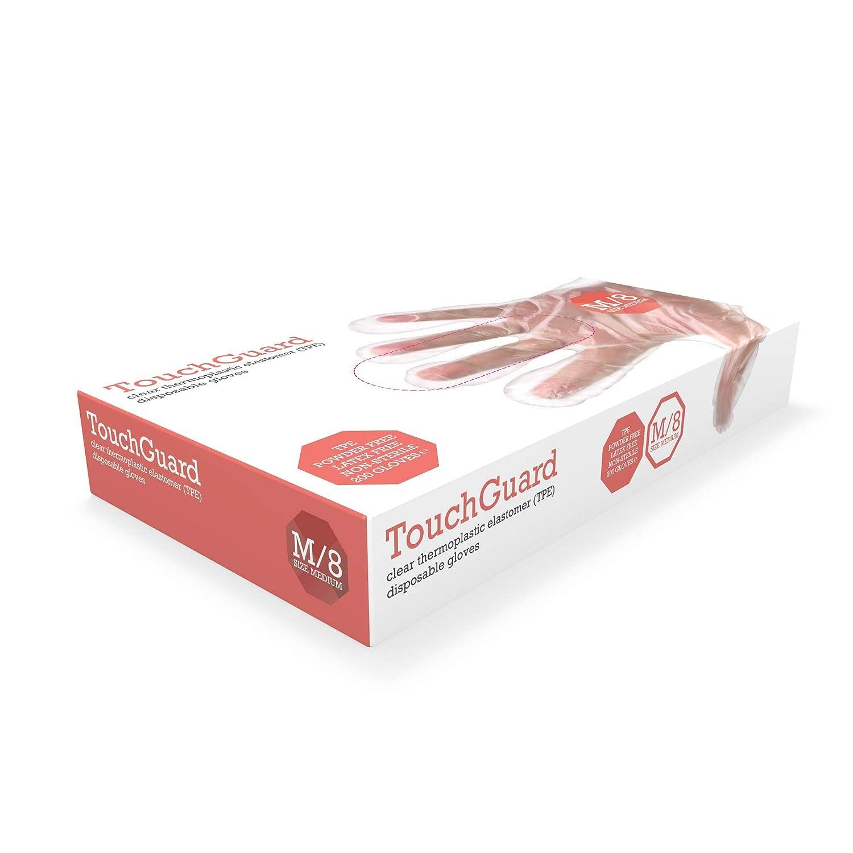 ohne Puder TouchGuard Einweg-Handschuhe transparent Box mit 200 St/ück TPE Gr/ö/ße S thermoplastisches Elastomer
