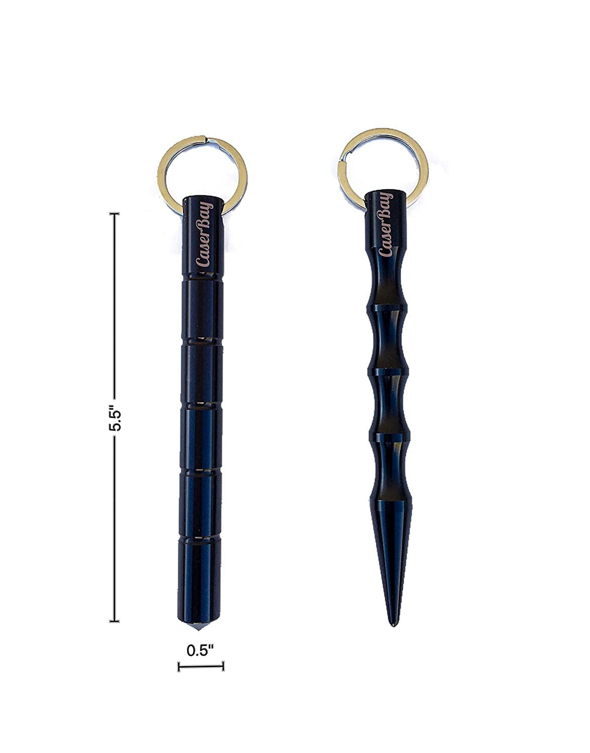 CaserBay Value Pack Pair of Tactical Kubotan Self-Defense Keychain Survival EDC Solid Aluminum Rod