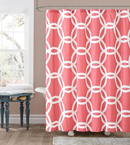 Luxury Home Honey Shower Curtain Coral White