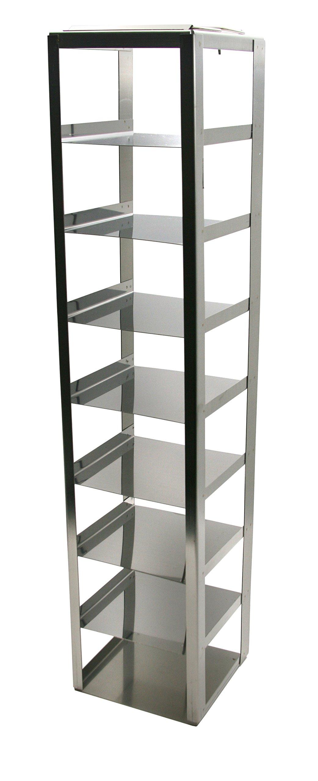 Heathrow Scientific HD2862D Steel Standard Chest Freezer Vertical Rack with 8 Shelves, For 3'' Box Height