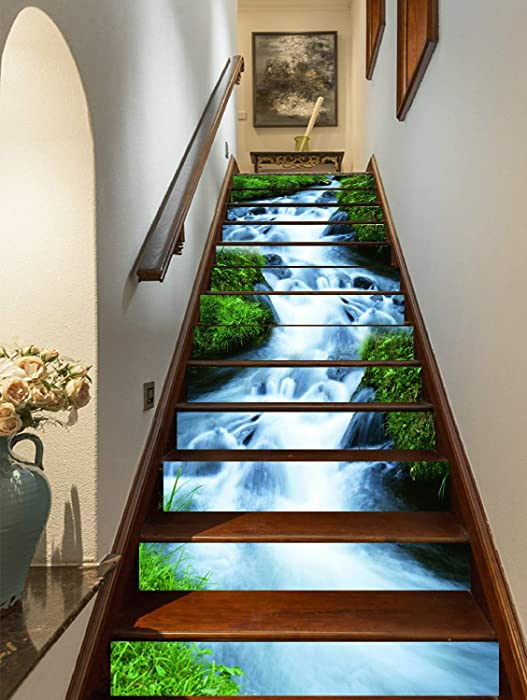 FLFK 3D Green Grass,Streams Natural Landscape Self-Adhesive Stairs Risers Stickers Wall Murals Vinyl Staircase Stickers Wallpaper Decor 39.3Inch x7.08Inch x 13PCS