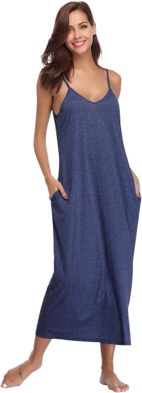 TALLA L. Aibrou Vestidos Mujer Algodón Verano,Vestidos de Playa sin Mangas Falda Largo Sexy Elegante y Comodo Dress para Playa Casual Caminar Diario Compras Azul Profundo#1