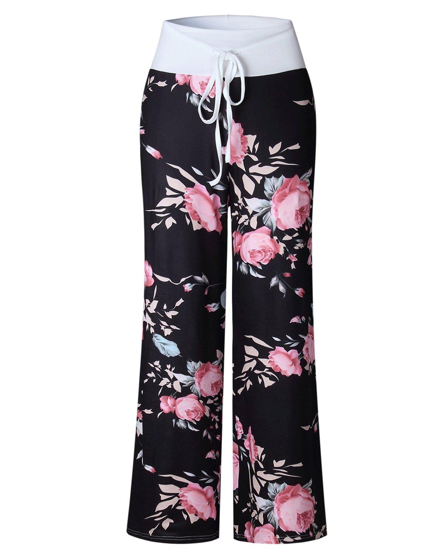 TRADERPLUS Women's Stretch Floral Print Pajama Pants Drawstring Palazzo Wide Leg Pants (Black, Large)