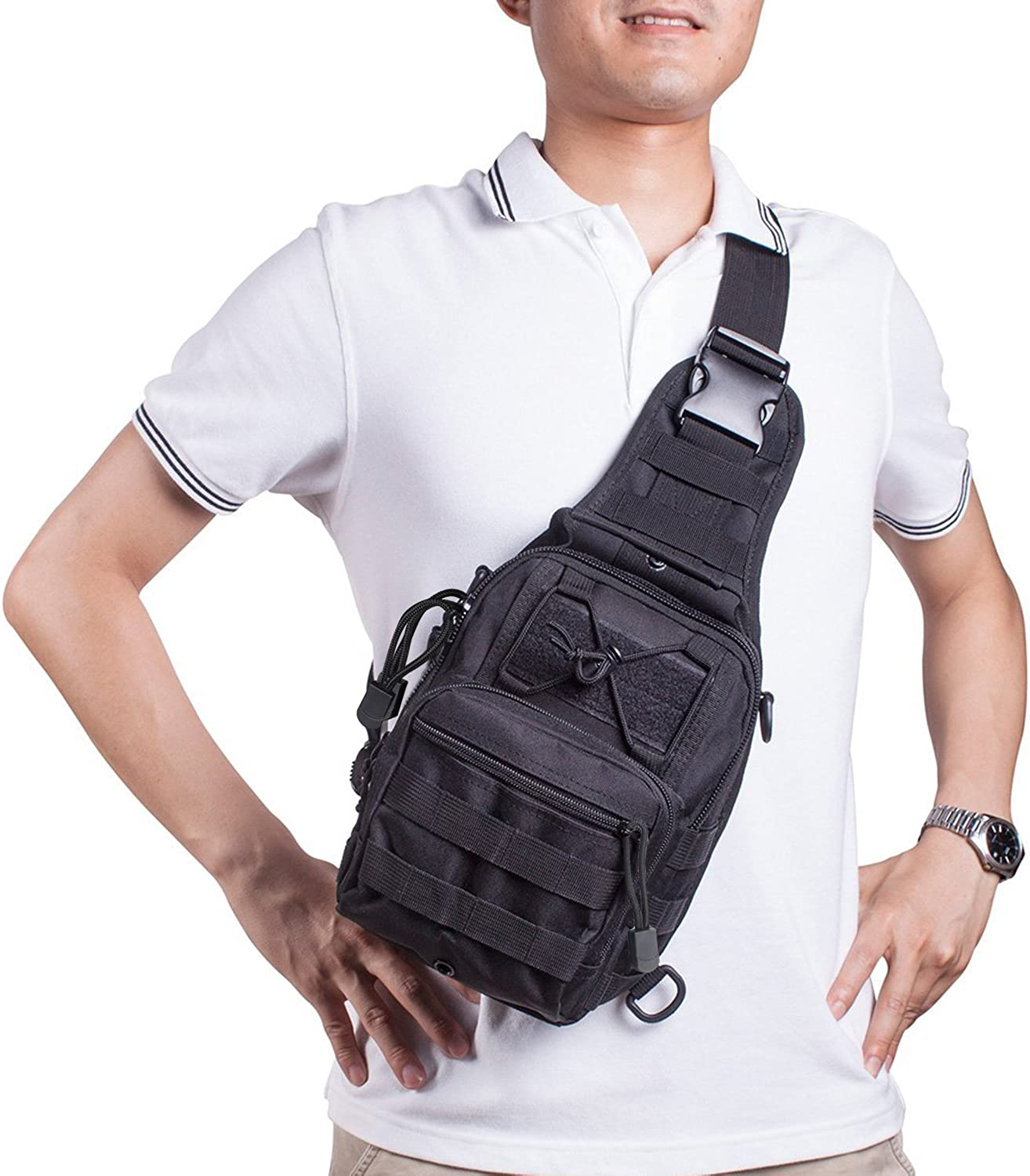Prospo Tactical Sling Bag Pack Military Molle EDC Chest One Strap Daypack Outdoor Black New