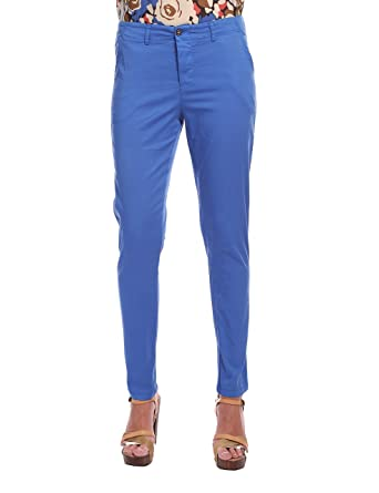 Womens Pantalone Chino in Cotone Blu Royal Trousers Isabella Roma wTtxLVRNp