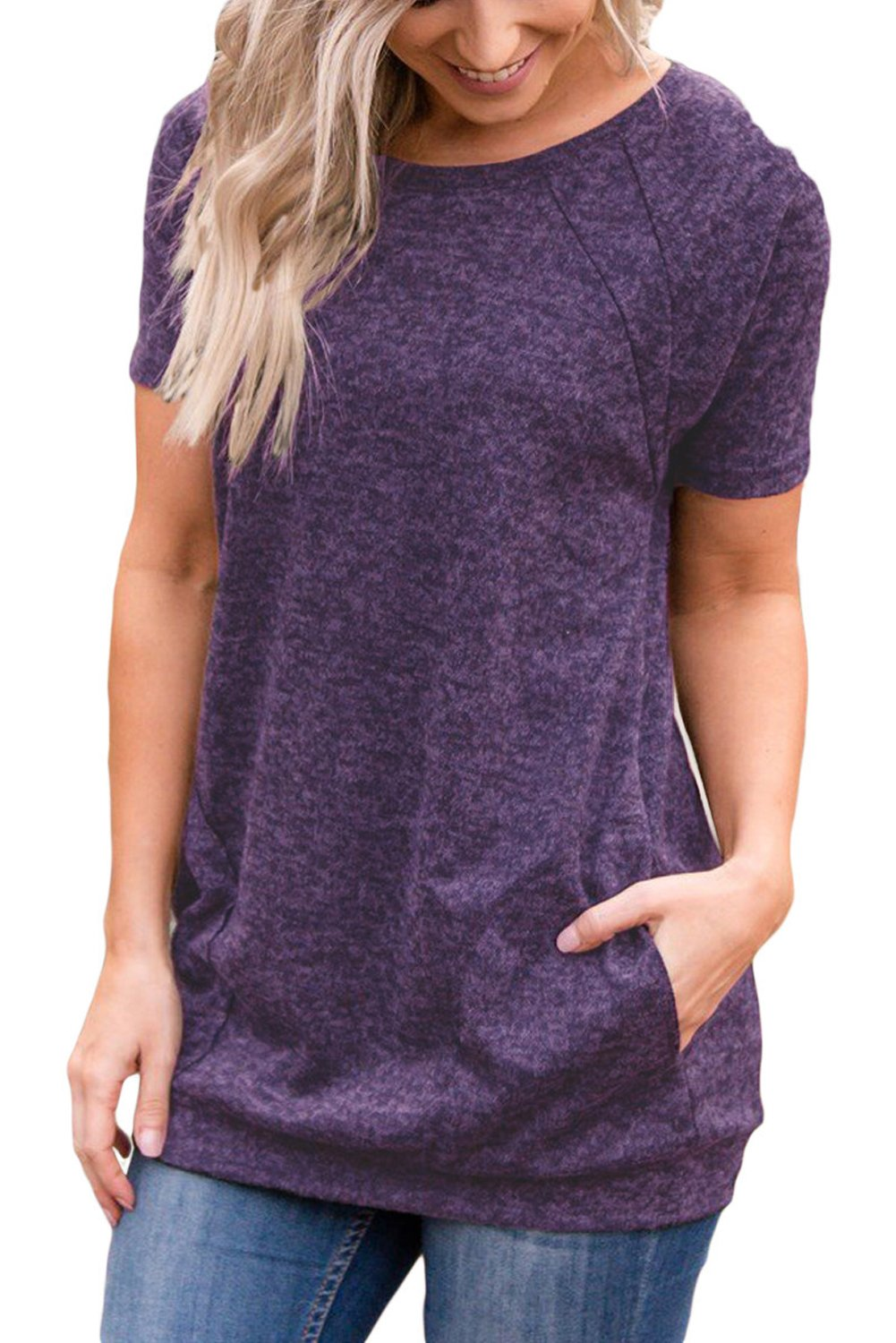 HOTAPEI Women's Shirts Short Sleeve Summer Casual Round Neck Loose Tunics for Women Top Blouse with Pockets Purple Medium