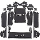 新型 MAZDA3 マツダ3 インテリアラバーマット FASTBACK SEDAN コンソールマット ドアポケットマット ゴム製 すべり止め 裏面滑り止め加工 13枚セット LFOTPP (白い)