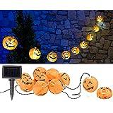 Lunartec Halloween-Dekoration: Solar-Lichterkette mit 10 LED-Lampions im Halloween-Kürbis-Look, IP44 (Garten-Lichterkette LED)
