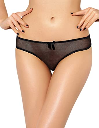 98e44eb20187 Sexy Black Mesh Wet Look Knickers Open Rear Tie Bumless Size 10 12 14 16 18