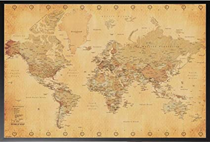 Amazoncom World Map Vintage X Wood Framed Poster Art Print - Antique looking maps