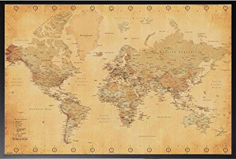 Amazon world map vintage 24x36 wood framed poster art print world map vintage 24x36 wood framed poster art print globe antique old looking gumiabroncs Image collections