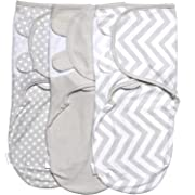 Baby Swaddle Wrap Pod Blanket - Swaddle Set - 3 Pack Soft Cotton Swaddle Blankets - Grey Large 4-6 Months