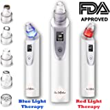 Blackhead Remover Pore Vacuum with Blue and Red Light Therapy Electric Acne Comedone Suction Pimple Zit Extractor Microdermabrasion Machine for Men Women Facial Treatment Professional Beauty Device