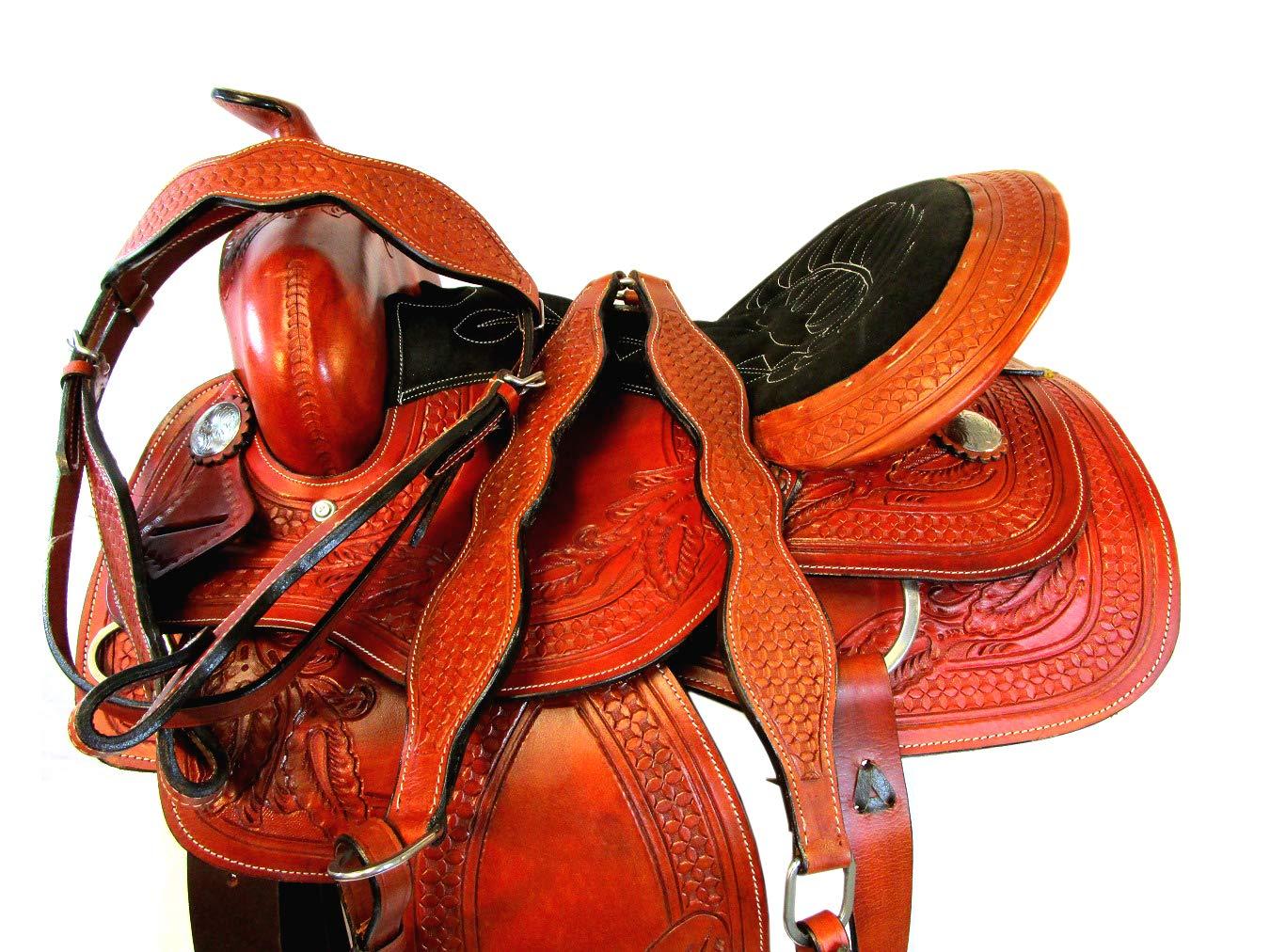 Amazon.com : Tooled Leather 15 16 17 Saddle Western SILLAS ...