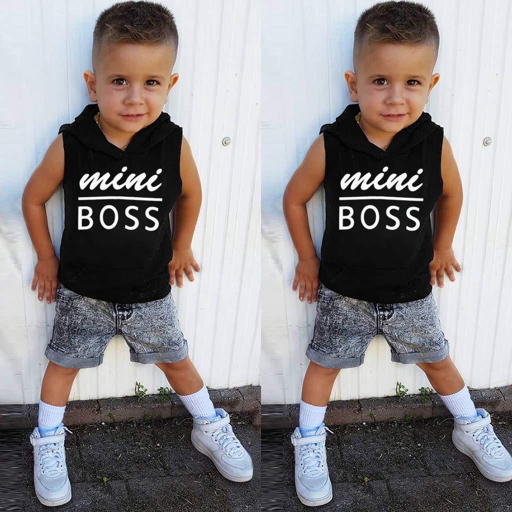 Baby Tops,SuperUSMini BOSS Toddler Baby Boys/&Girls Sleeveless Letter Print Vest Hooded Tops Clothes