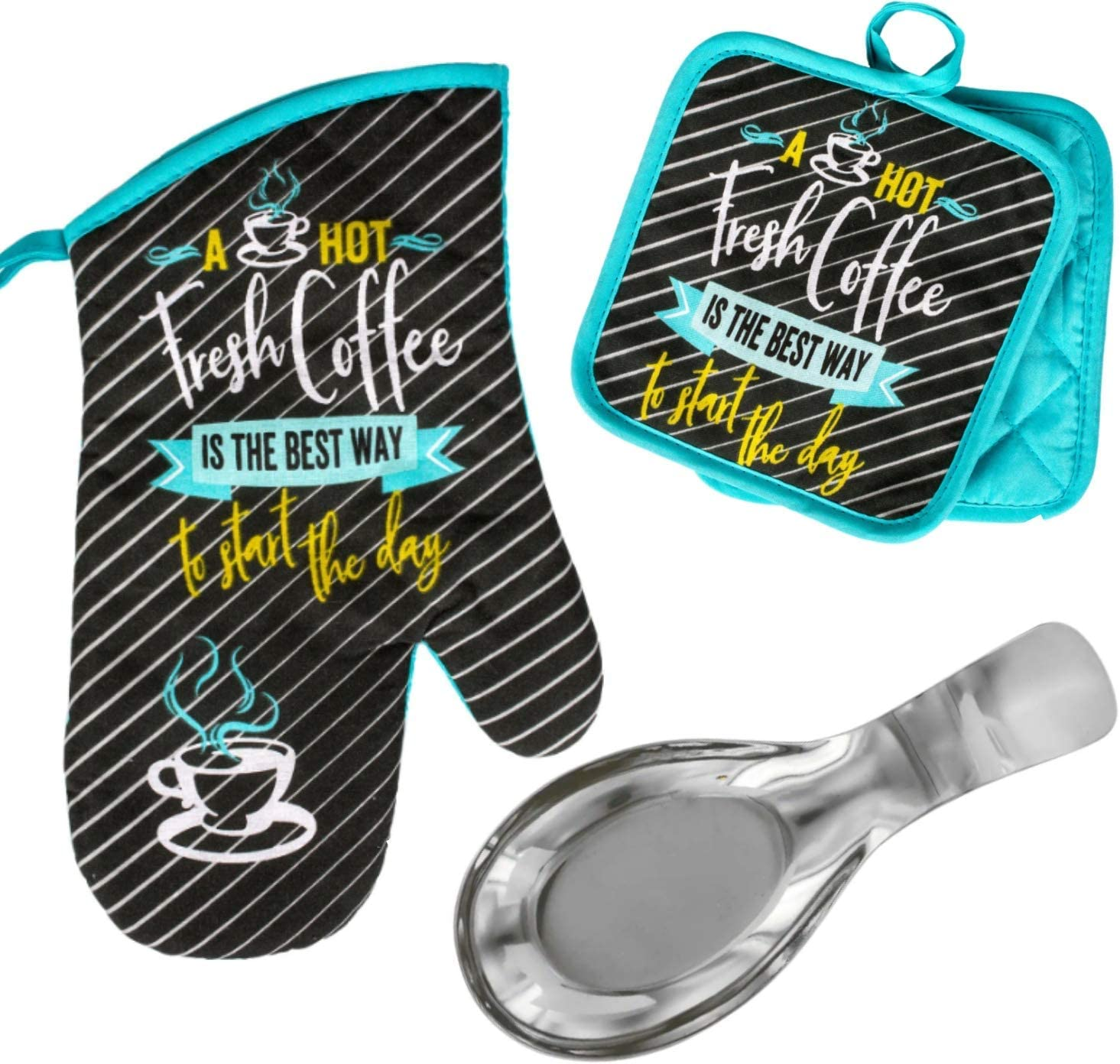 Coffee Lovers Gift Set Bundle. Cute Coffee Themed Oven Mitt, Pot Holder, Spoon Rest,