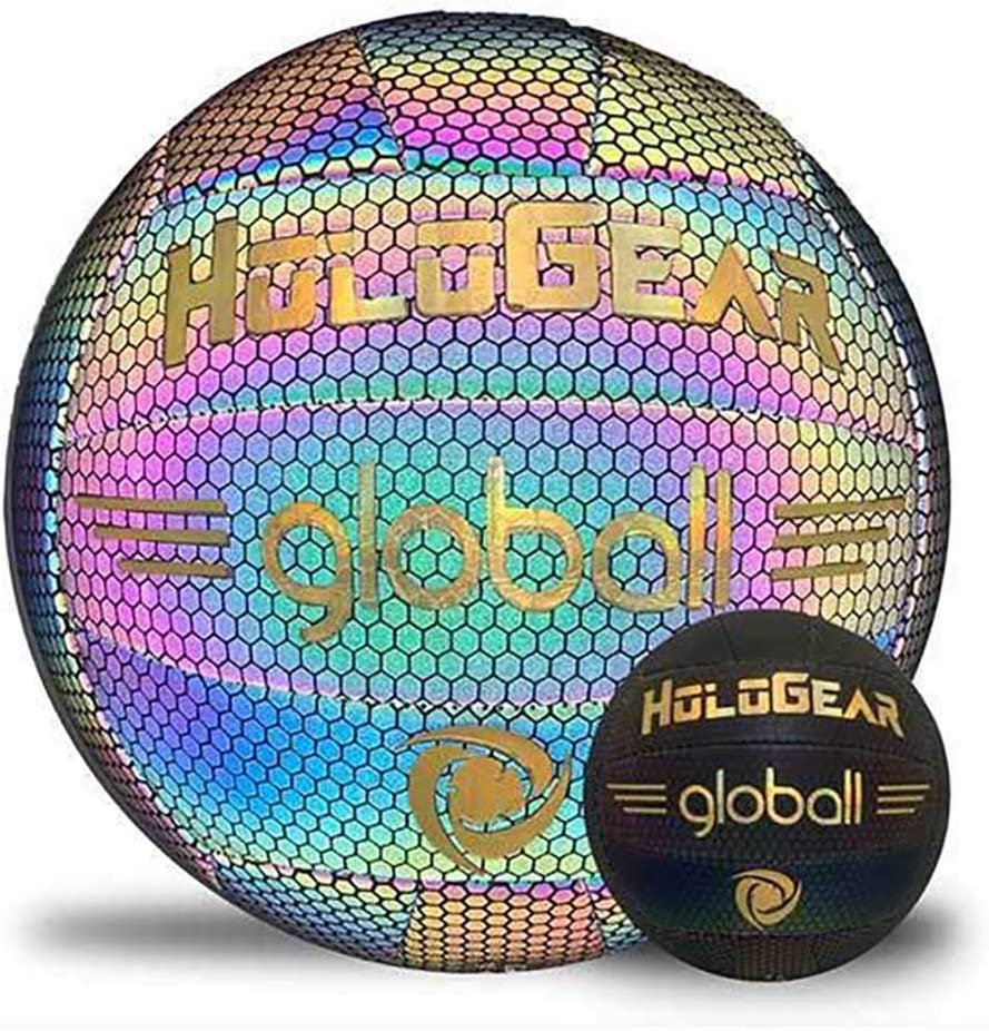 HoloGear Holographic Glowing Reflective Volleyball - Light Up with Camera Flash, Volleyball Gifts Toys for Kids and Boys - Perfect Toy for Night Game